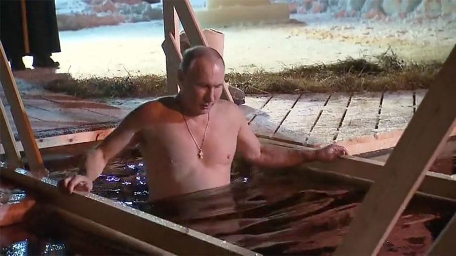 Image result for Russia's Putin takes dip in icy lake to mark Orthodox Epiphany