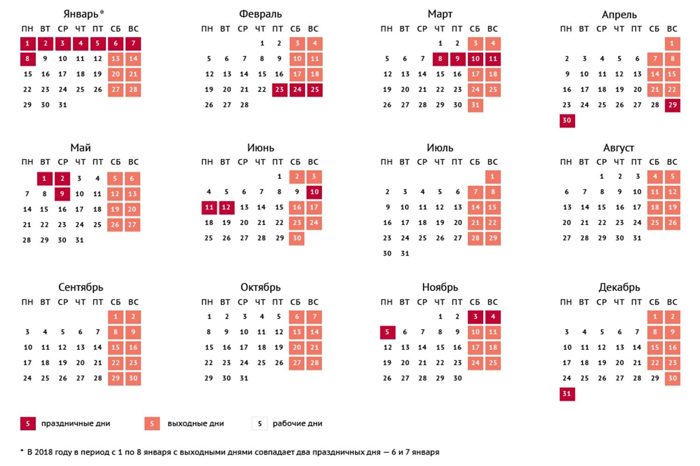Дни праздников в 2018 в россии