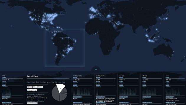 Crean un mapa de Twitter en tiempo real