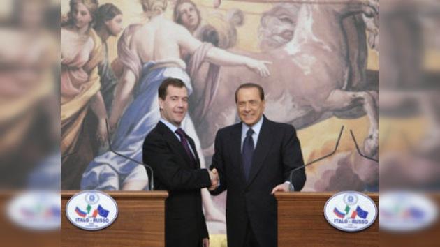 Seguridad europea y lazos comerciales, en la agenda de Medvédev en Italia