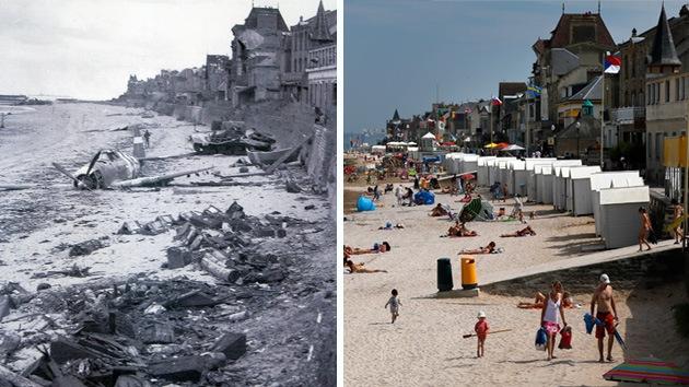 70.º aniversario del Día D: las playas de Normandía en junio de 1944 y hoy