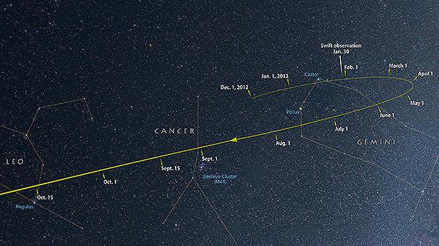 Desde ahora y hasta octubre, el cometa ISON navegará a través de las constelaciones de Géminis, Cáncer y Leo a medida que se aproxima al Sol.