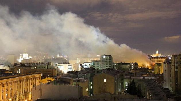 Gran incendio en Moscú: arde la Universidad Rusa de Artes Teatrales