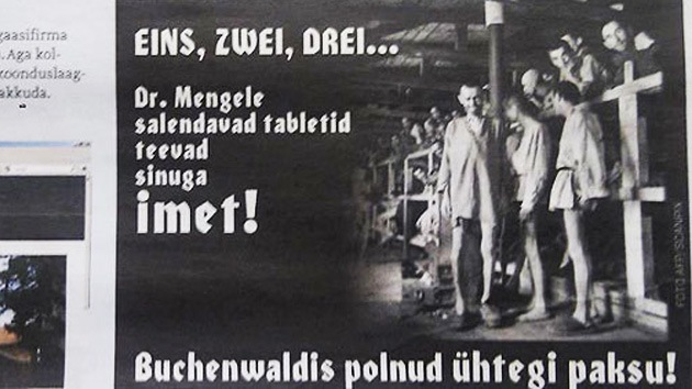 Estonia: fotos de prisioneros de Buchenwald para promocionar píldoras para adelgazar