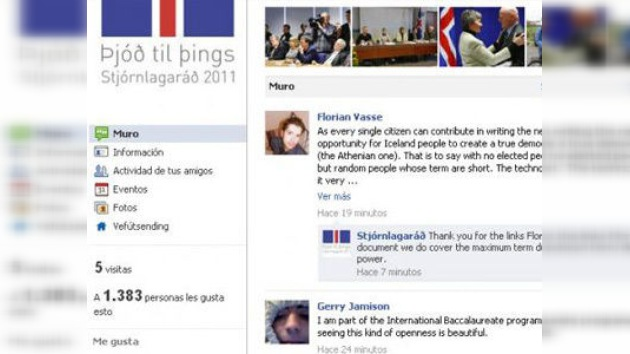 Islandeses escriben su Constitución en las redes sociales