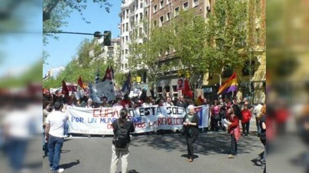 Manifestaciones en apoyo al régimen cubano en Madrid y Barcelona