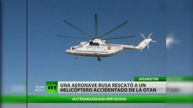 Un helicóptero ruso rescata a una aeronave de la OTAN en Afganistán