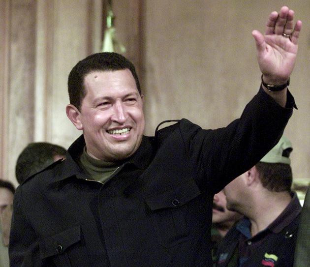 Hugo Chávez tras el fallido golpe de Estado en abril de 2002