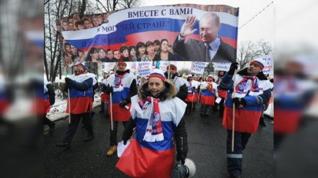 Multitudinaria marcha a favor de Vladímir Putin en Moscú