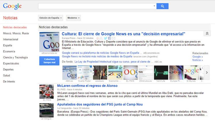 Google News cerrará en España por la tasa de la ley de propiedad intelectual