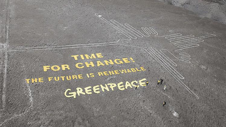 Perú ratifica acciones contra los miembros de Greenpeace que dañaron el Colibrí de Nazca