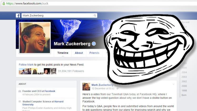 Troles brasileños atacan la página de Facebook de Mark Zuckerberg