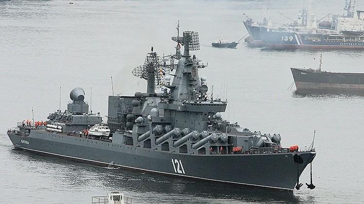 El buque insignia de la Flota del Mar Negro rusa entra en el Mediterráneo