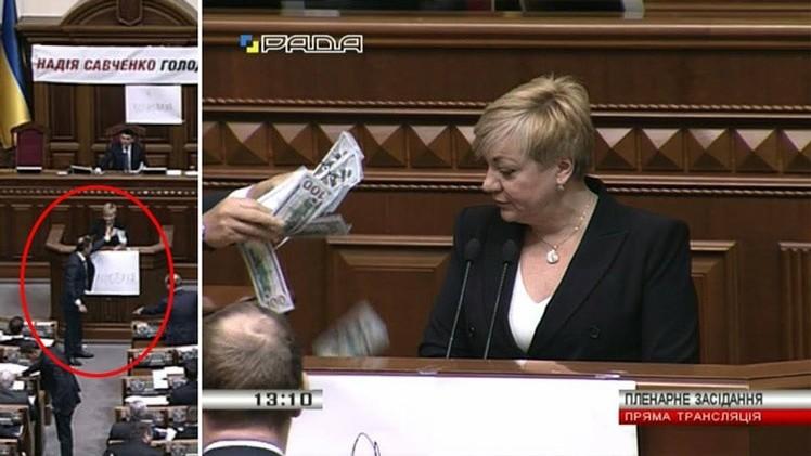 VIDEO: Líder radical ucraniano lanza dólares a la cara a la presidenta del Banco Nacional