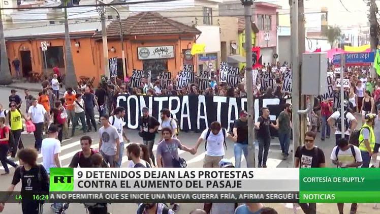 Brasil: Nueve detenidos tras las protestas por el aumento de tarifas de transporte público
