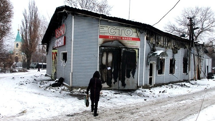 Un ataque de artillería ucraniana en Donetsk