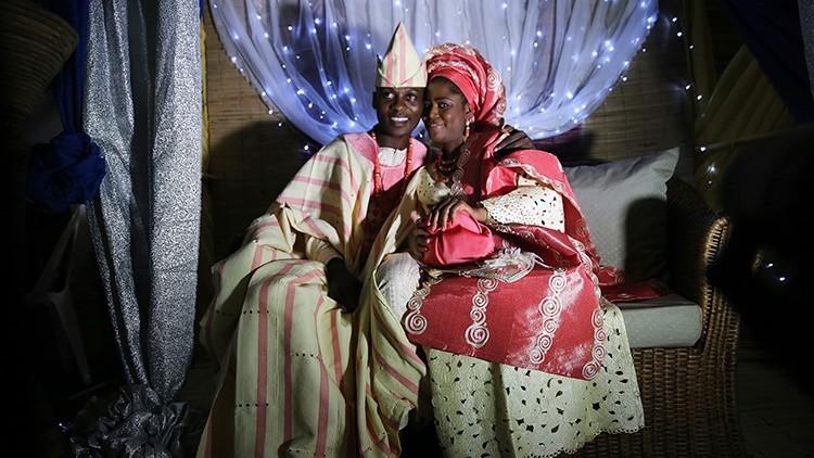 Los novios golpeados en Nigeria
