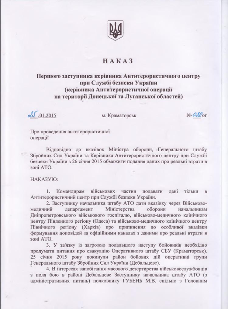 Orden del mando del Centro Antiterrorista de Servicio de Seguridad de Ucrania