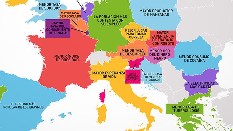Mapa Qu es lo mejor de cada pas de la Unin Europea  RT