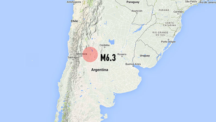 Un sismo de magnitud 6,3 se registra en Argentina