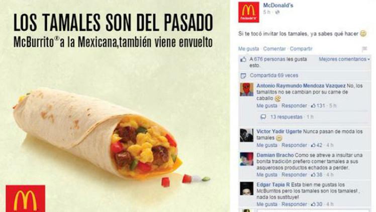 """""""Los tamales son del pasado"""": McDonald's desata la polémica en la Red"""
