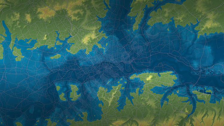 Fotos: ¿Qué aspecto tendría Norteamérica y Reino Unido a 80 metros bajo el agua?