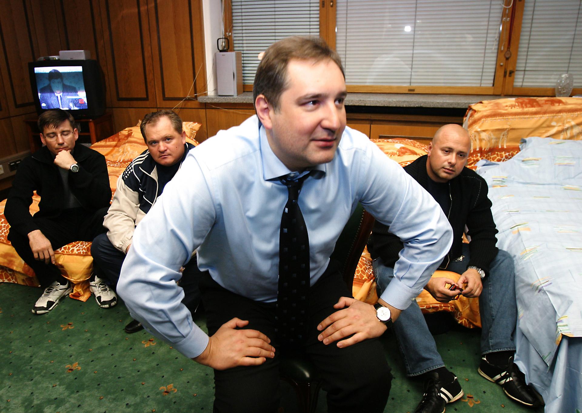 Durante una huelga de hambre en la Duma contra una ley de pagos de favor, en 2005