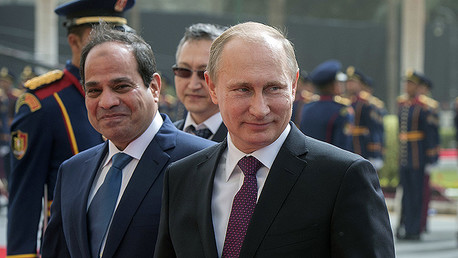 From right: Russian President Vladimir Putin and Egyptian President Abdel Fattah el-Sisi during the