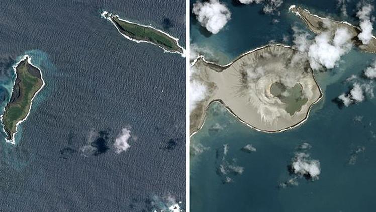 Fotos: Primeras imágenes de una isla recién formada en el océano Pacífico