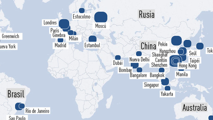 Mapa: ¿En qué ciudades viven los más ricos del planeta?