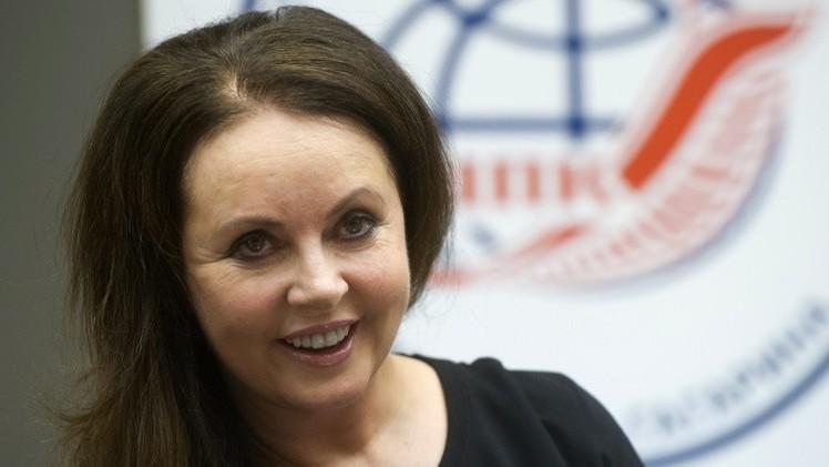 Sarah Brightman en una rueda de prensa en las afueras de Moscú