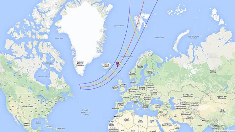 El mapa del eclipse solar del 20 de marzo de 2014