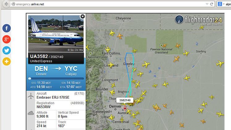 El vuelo UA3582 de United Ailines declara una emergencia tras haber despegado de Denver