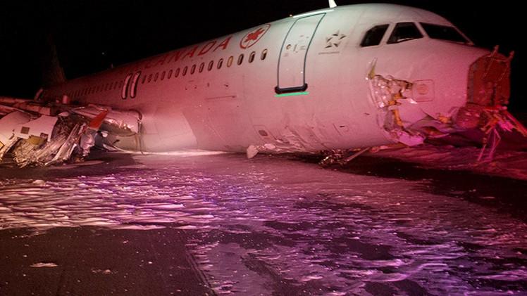 Un avión de AirCanada sufre un aterrizaje fallido en el aeropuerto de Halifax
