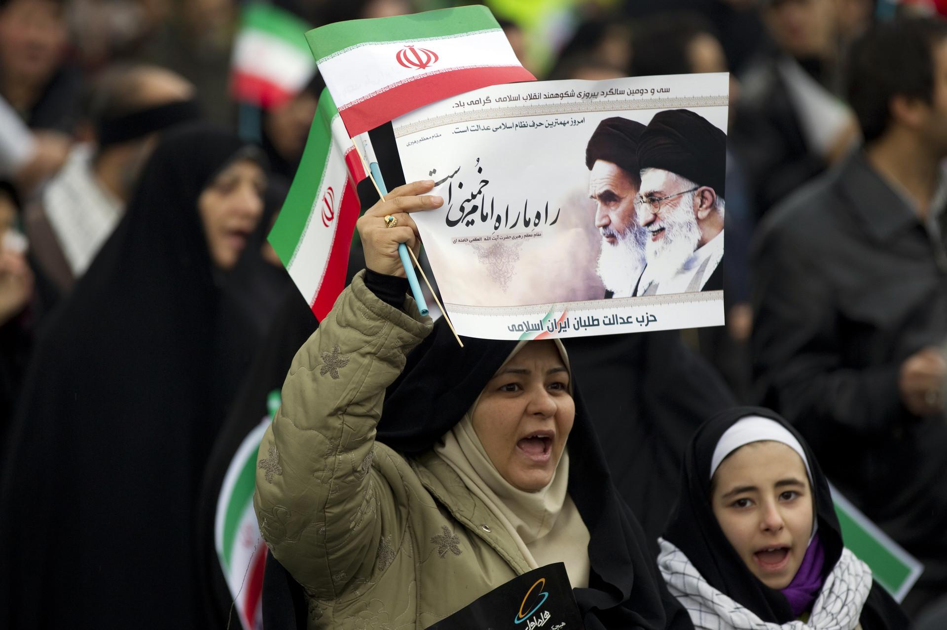 Manifestación para conmemorar el 32 aniversario de la Revolución Islámica en Teherán