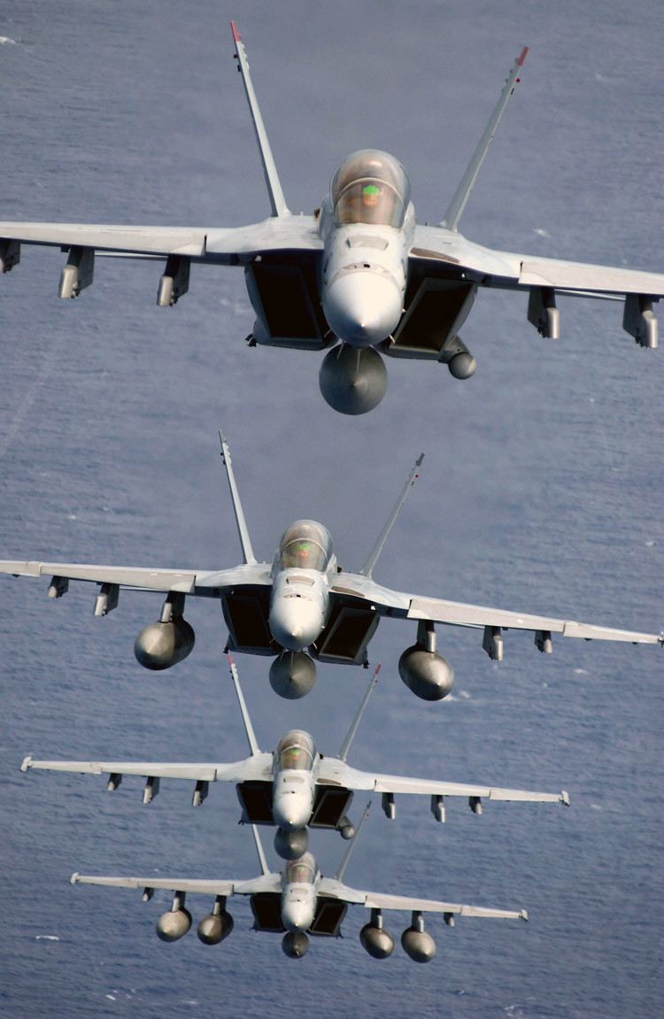 F/A-18 Super Hornets assigned to the Black Aces of Strike Fighter Squadron Forty One