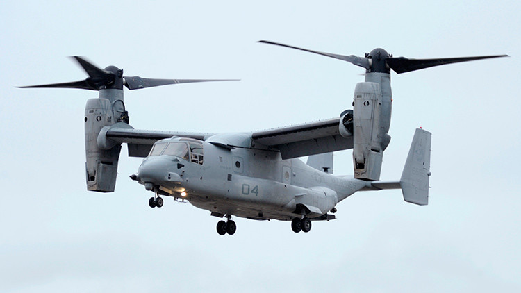 An Osprey with U.S. Defense Secretary Leon Panetta aboard prepares to land in New York