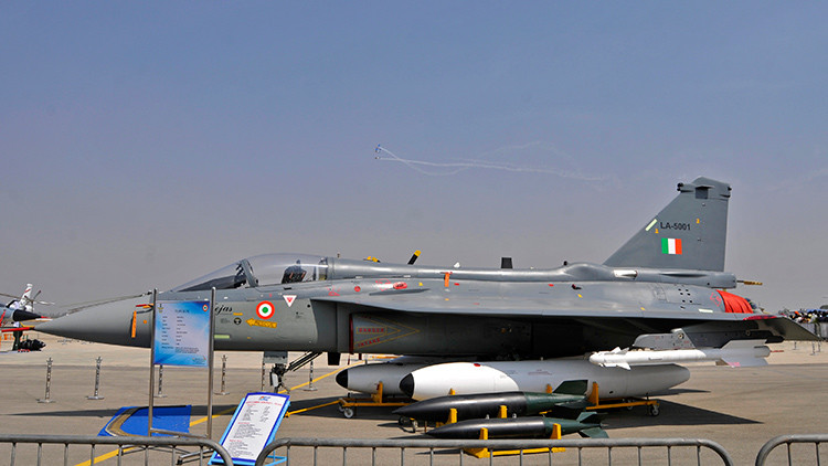 "An Indian Air Force (IAF) light combat aircraft ""Tejas"""