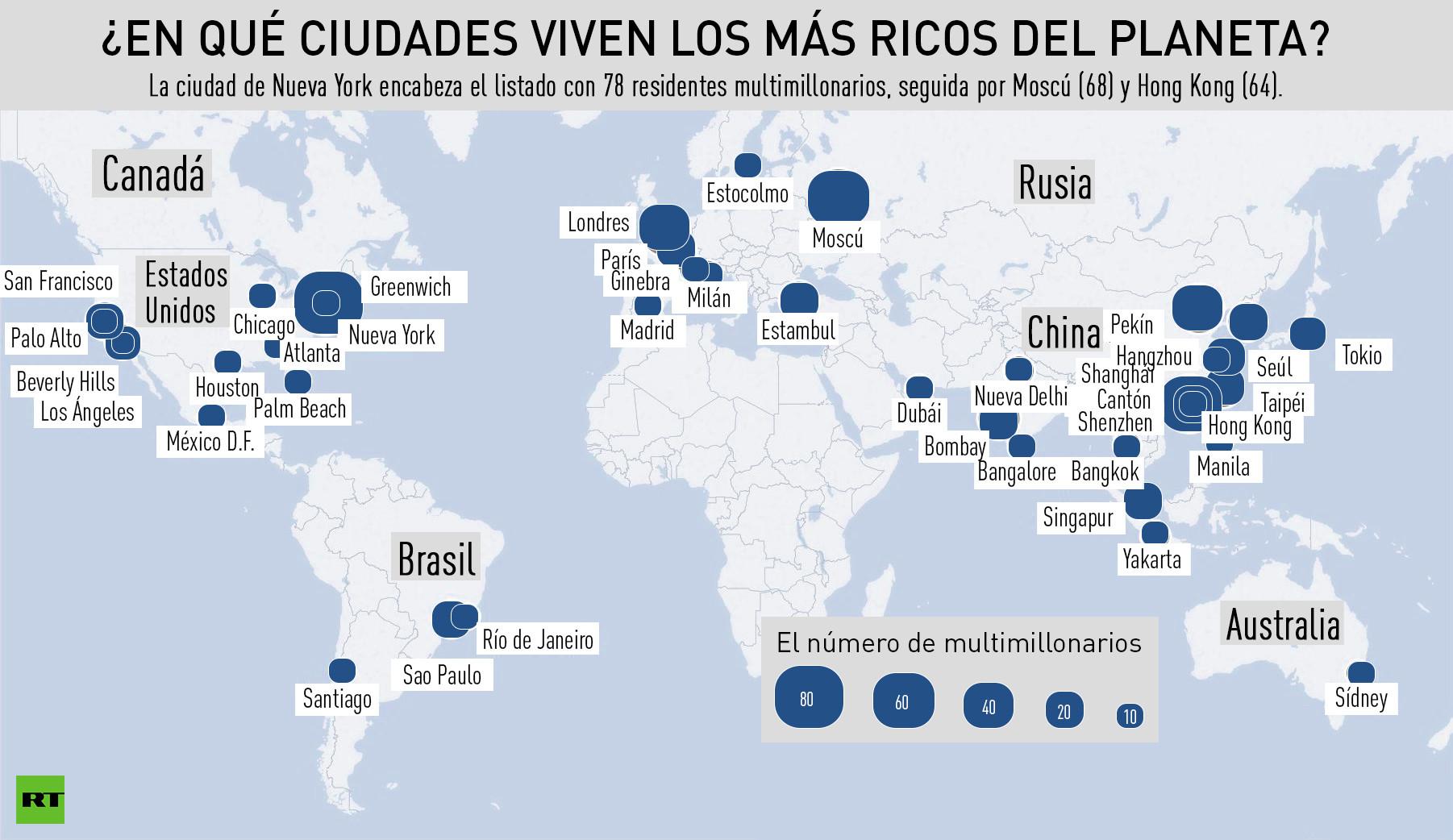 Mapa en qu ciudades viven los m s ricos del planeta rt - Cual es la mejor ciudad de espana ...