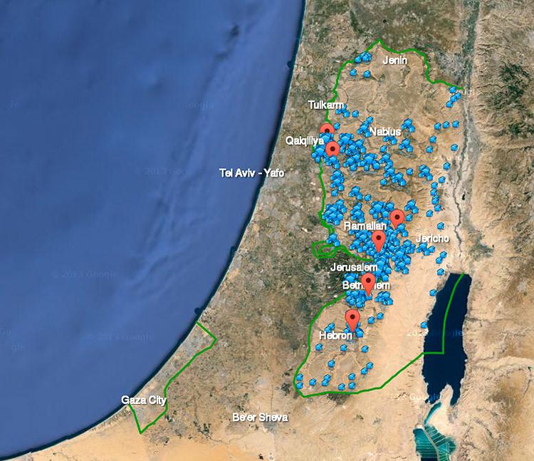 Mapa de asentamientos israelíes en Palestina