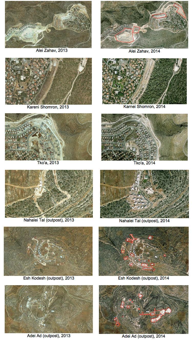 El crecimiento de dos asentamientos israelíes en el territorio palestino