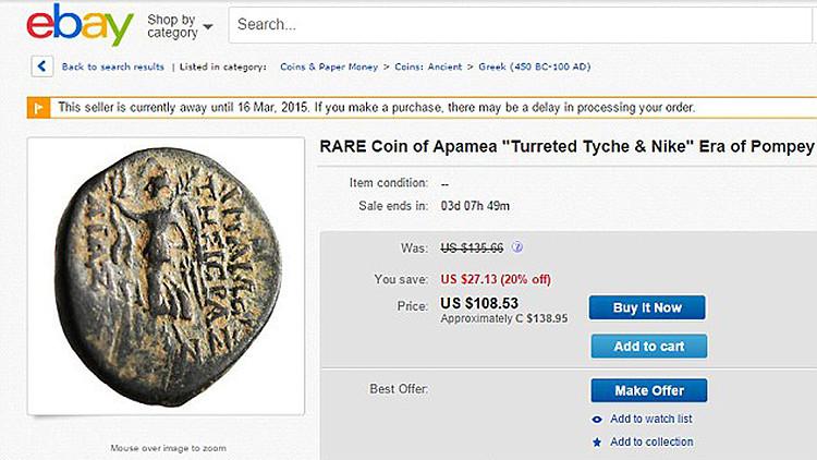 Artefactos de 2.000 años saqueados por el EI se venden en eBay