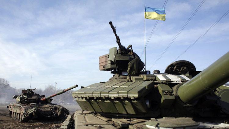 Un coche blindado del Ejército de Ucrania