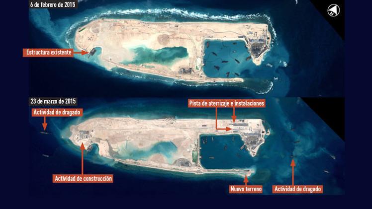 China gana terreno a EE.UU. en aguas en disputa levantando gran pista de aterrizaje