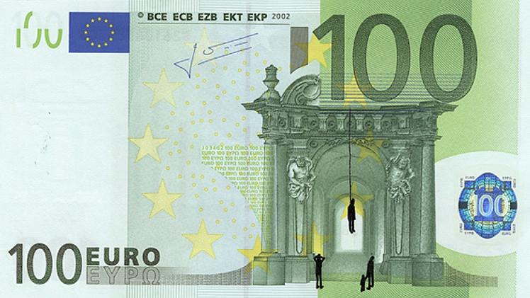 Fotos: Un artista griego utiliza billetes de euro como lienzo para representar la crisis