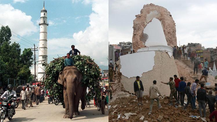 El antes y después de los edificios históricos devastados por el terremoto en Nepal
