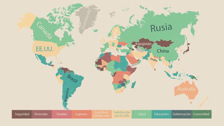 Mapamundi: ¿Qué es lo que más se valora en la vida en cada país?