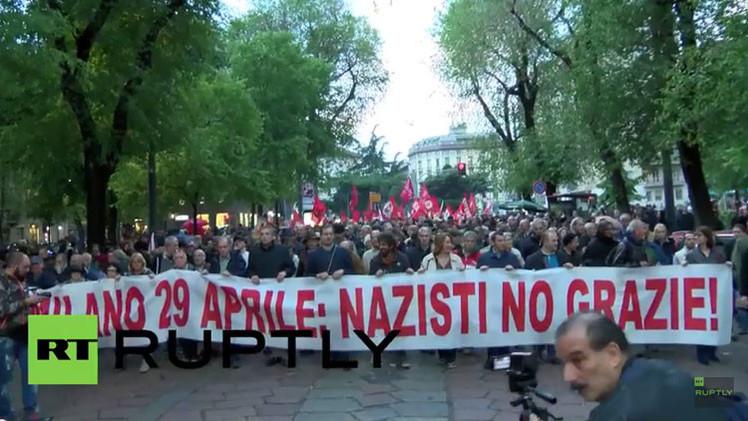 """¿Nazis? ¡No, gracias!"": Manifestantes antifascistas invaden Milán (Video)"