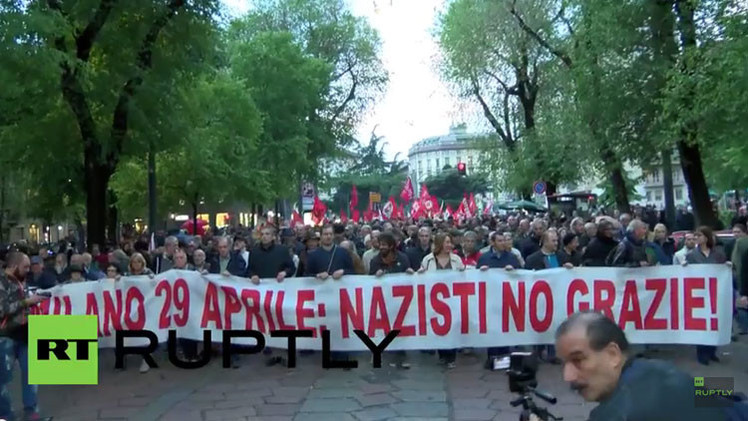 """¿Nazis? ¡No, gracias!"": Manifestantes antifascistas invaden Milán (Video)"
