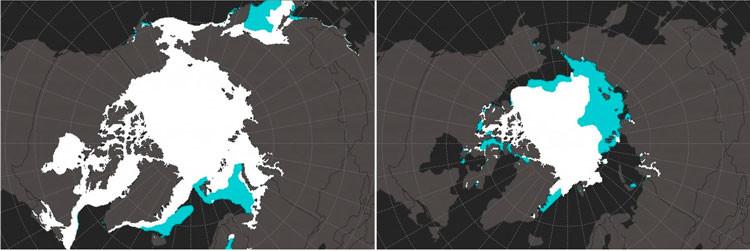 Mapa: El increíble declive de hielo marino del Ártico